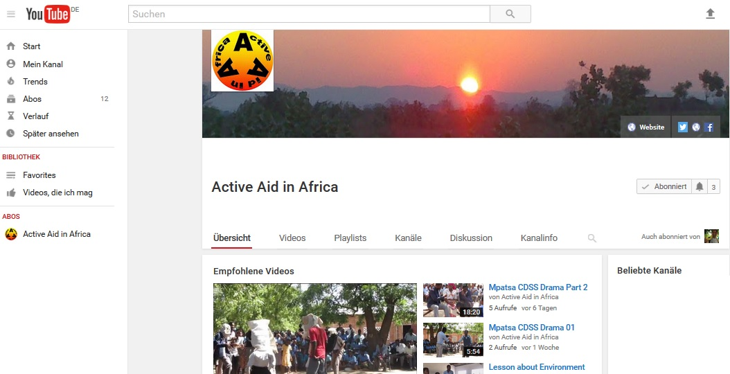 Active Aid in Africa auf Youtube